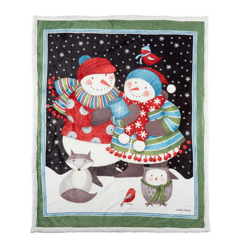 Debbie Mum® Snowman Couple Sherpa Throw Blanket view 1