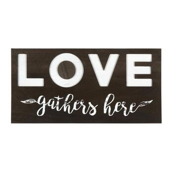 "12""x24"" ""Love Gathers Here"" Wood Wall Decor"