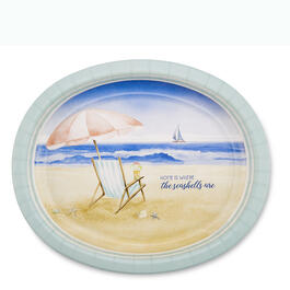 Coastal Beach Breeze Oval Paper Plates, 20-Count view 1