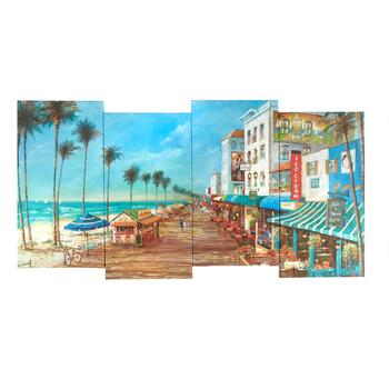 "8""x38"" Beach Cafe Staggered Canvas Wall Art"