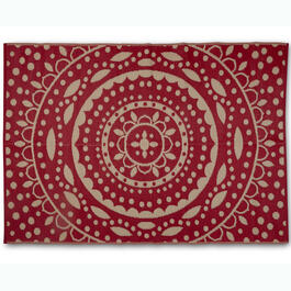 8' x 11' Red Medallion Patio Mat view 1