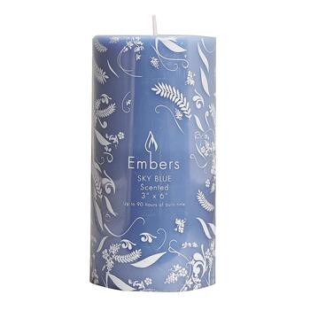 "Embers® Sky Blue-Scented 3"" x 6"" Pillar Candle view 2"