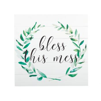 "The Grainhouse™ 20"" Bless This Mess"" Wood Plank Wall Decor"