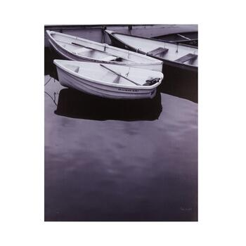 "22""x28"" Black and White Boats Canvas Wall Art"