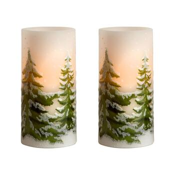 Glittery Evergreens LED Pillar Candles, Set of 2