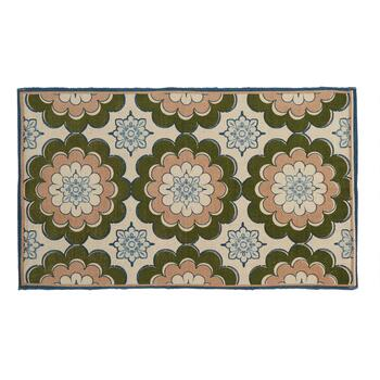 "27""x45"" Green/Brown Flowers Accent Rug"