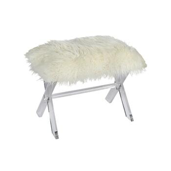 "26"" White Fur X-Side Acrylic Stool"
