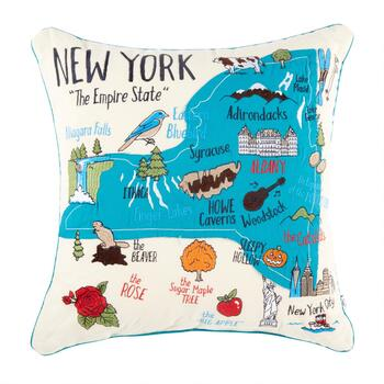 "Grey Whale Outfitters™ 20"" New York State Throw Pillow"