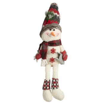 "23"" Dangling Legs Snowman Sitter with Sled"