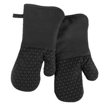 Black Silicone Oven Mitts, Set of 2