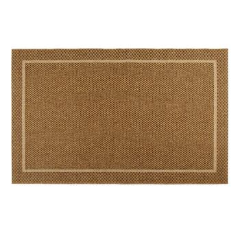 "53""x83"" Brown Textured All-Weather Rug with Border"