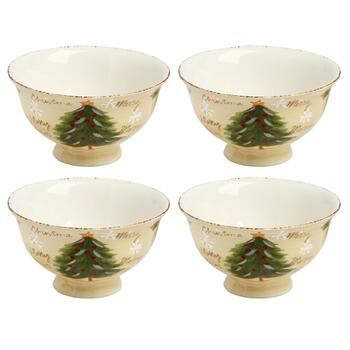 """Merry Christmas"" Santa Ceramic Cereal Bowls, Set of 4 view 2"