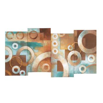 "18""x38"" Abstract Circles Staggered Canvas Wall Art"
