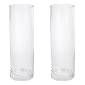 "12"" Thick-Walled Round Glass Vases, Set of 2"