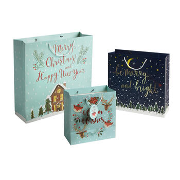"""Merry Christmas and Happy New Year"" Sized Gift Bags, Set of 6 view 1"