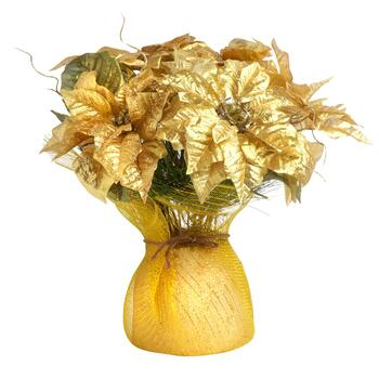 Gold Poinsettia with Tulle Wrapped Pot