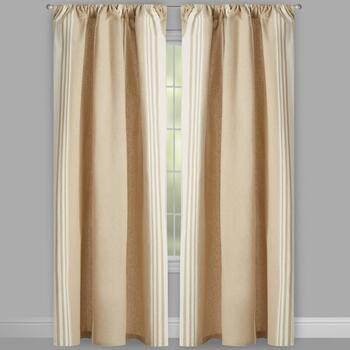 Naya Yarn-Dyed Taupe Striped Cotton Window Curtains, Set of 2 view 2