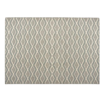 6.6'x9.5' Gray/Blue Zigzags Area Rug view 1