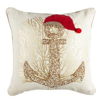 Christmas Anchor Beaded Square Throw Pillow