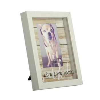 "4""x6"" ""Live Love Bark"" Pet Slatted Photo Frame"