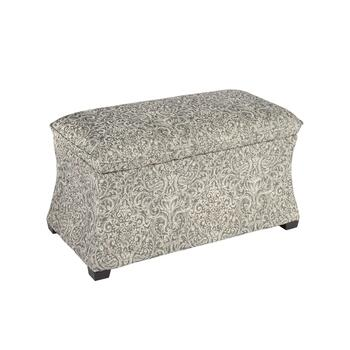 "32"" Pewter Hourglass Storage Ottoman"