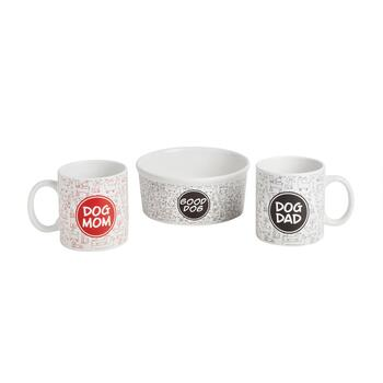 Dog Family Pet Bowl & Mugs Set