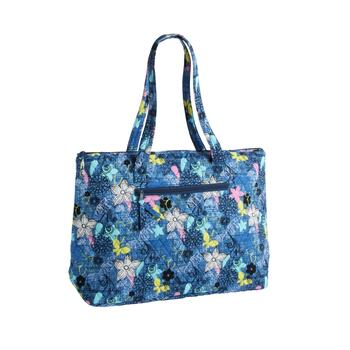 "18""x14"" Blue Floral Quilted Insulated Tote Bag"