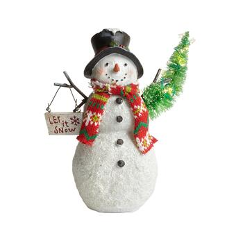 "9"" ""Let It Snow"" Lighted Snowman Decor"