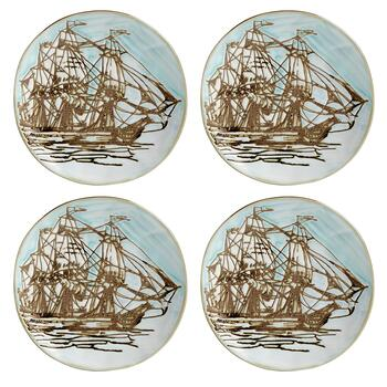 Coastal Ship Ceramic Appetizer Plates, Set of 4