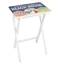 "Coastal ""Welcome To Our Beach House"" Wooden Tray Table"
