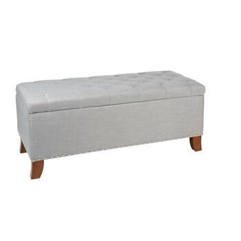 Bailey Gray Tufted Storage Ottoman with Nailheads