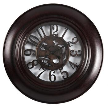 "30"" Gears Faux Wood Round Wall Clock"