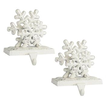 White Metal Double Snowflake Stocking Holders, Set of 2