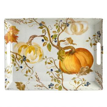 Harvest Pumpkin Melamine Serving Tray with Handles