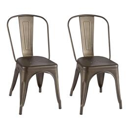 Industrial Metal Dining Chairs, Set of 2