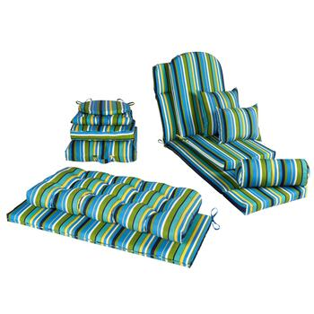 Blue/Yellow/Green Striped Indoor/Outdoor Cushions