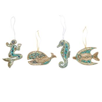 Beaded Ocean Icon Ornaments, Set of 4