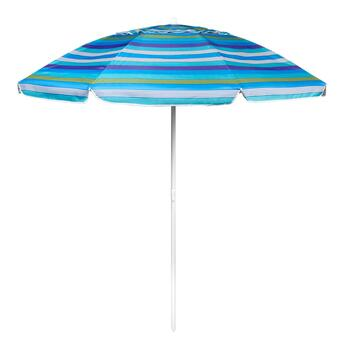7' Light and Dark Blue with White Stripe Beach Umbrella
