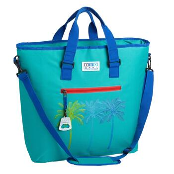 Palm Trees Blue/Green Deluxe Insulated Cooler Tote