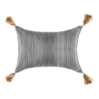 Dark Gray Garden Flowers Oblong Throw Pillow view 2