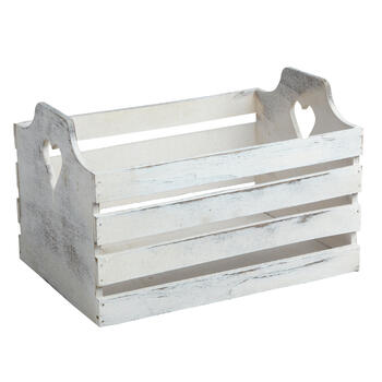 White Weathered Wood Crate with Cutout Heart Handles view 1