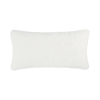 Warm Ivory Sherpa Oblong Throw Pillow
