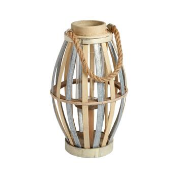 "14"" Bamboo/Metal Candle Holder"