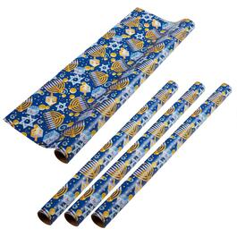 Menorah and Dreidel Wrapping Paper Rolls, Set of 4