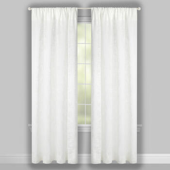 "96"" White Faux Linen Rod Pocket Window Curtains, Set of 2 view 2"
