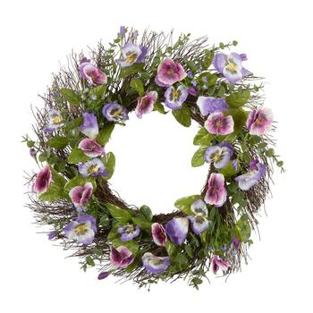 "22"" Purple Pansy Wreath"