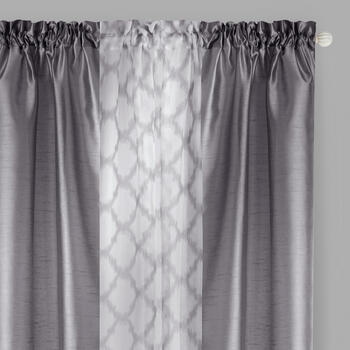 "84"" 3-Piece Faux Silk/Geo Print Window Curtains, Set of 2 view 1"