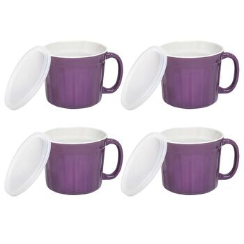 20-oz. Ceramic Soup Mugs with Covers, Set of 4