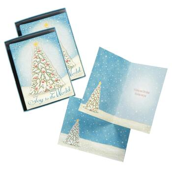 "20-Piece Handmade ""Joy to the World"" Holiday Cards, Set of 2"