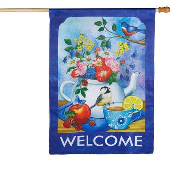 """Welcome"" Teapot Yard Flag"